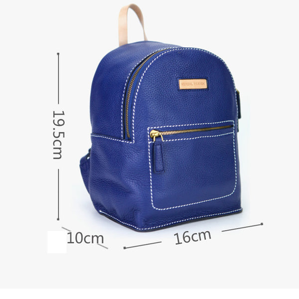 Women's Blue Leather Mini Backpack Bag Purse Trendy Backpacks for Womens