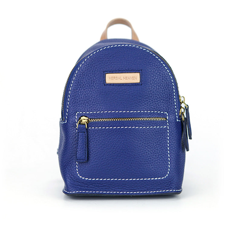 Women's Blue Leather Mini Backpack Bag