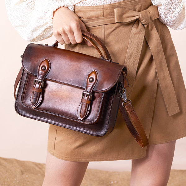 Women's Brown Leather Crossbody Satchel Purse Handbags Leather Messenger Bag for Women