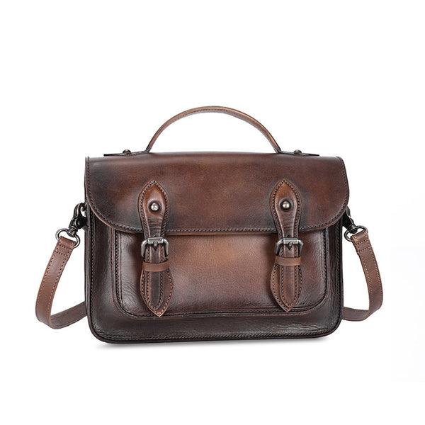 Women's Brown Leather Crossbody Satchel Purse