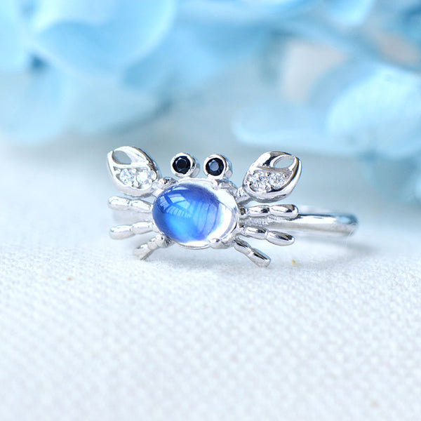 Crab Shaped Women's Sterling Silver Genuine Blue Moonstone Ring June Birthday Jewelry for Women
