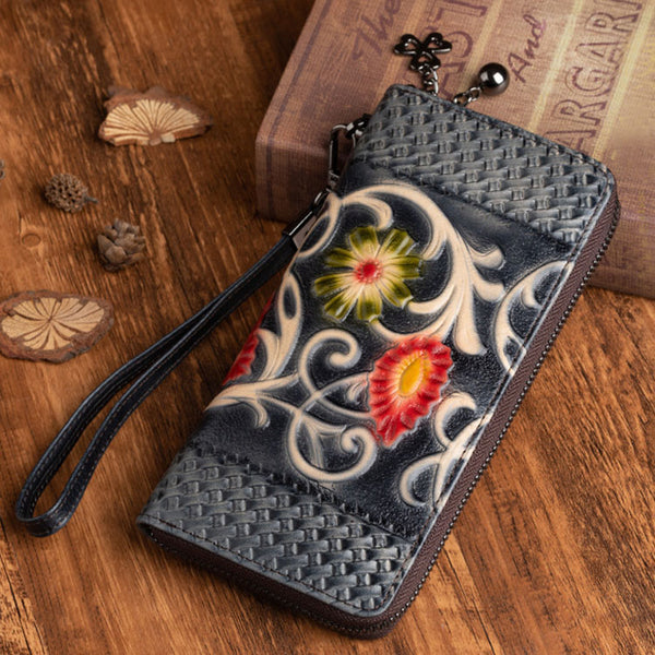 Women's Designer Embossed Leather Wallets on Sale Billfold For Women
