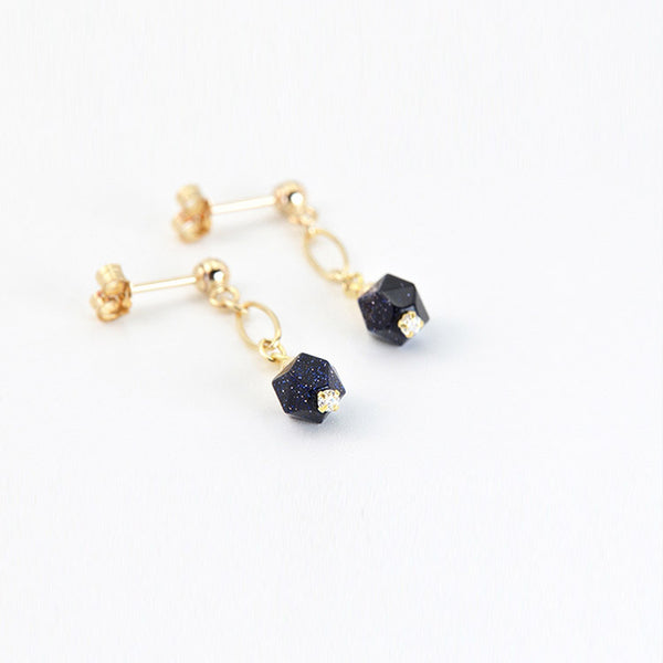 Women's Fashion Blue Sandstone Bead 14K Gold Stud Earrings Jewelry Accessories for Women