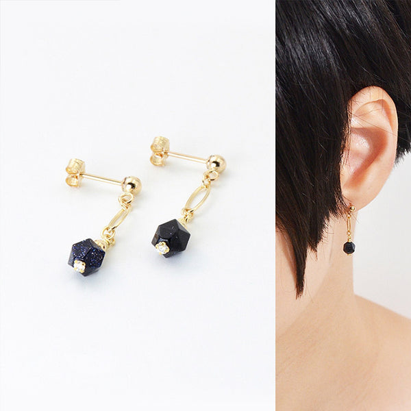 Women's Fashion Blue Sandstone Bead 14K Gold Stud Earrings Jewelry Accessories for Women elegant