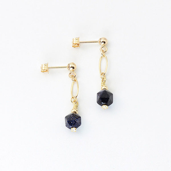Women's Fashion Blue Sandstone Bead 14K Gold Stud Earrings Jewelry Accessories