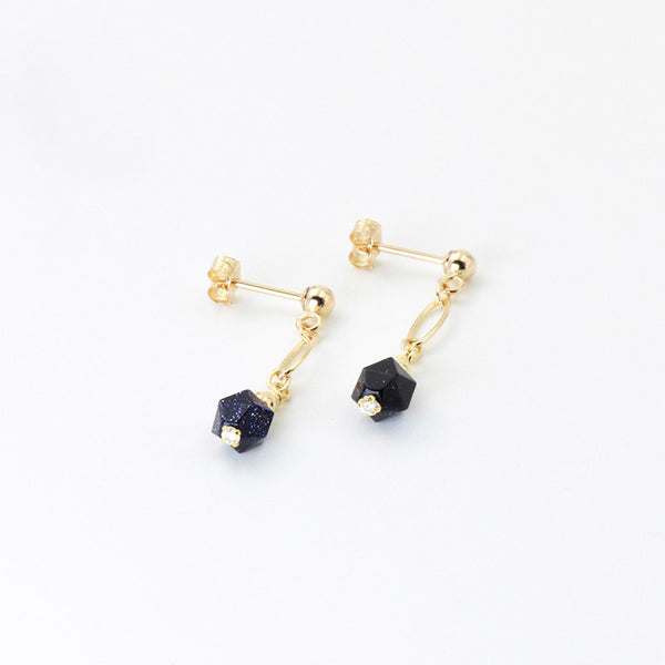 Women's Fashion Blue Sandstone Bead 14K Gold Stud Earrings