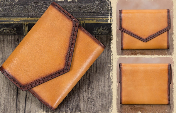 Women's Genuine Leather Trifold Wallet with Coin Pocket and Card Holder Brown