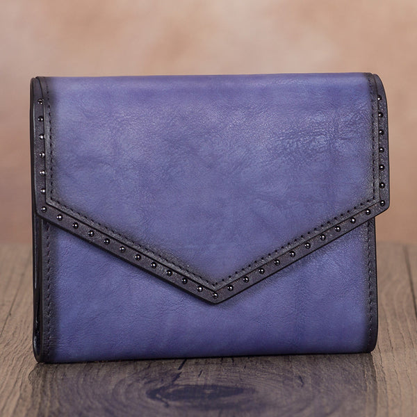 Cute Women's Purple Leather Trifold Wallet with Coin Pocket and Card Holder for Women