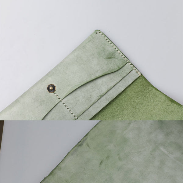 Women's Green Leather Long Wallet Billfolds Purse Ladies Leather Wallets Details