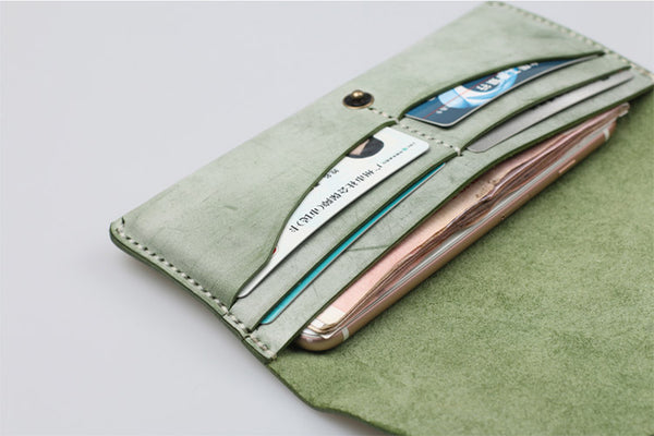 Women's Green Leather Long Wallet Billfolds Purse Ladies Leather Wallets Genuine Leather