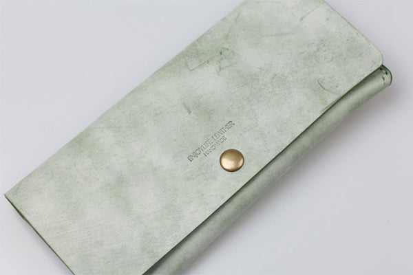 Women's Green Leather Long Wallet Billfolds Purse Ladies Leather Wallets Minimalist