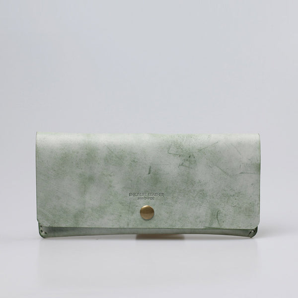 Women's Green Leather Long Wallet