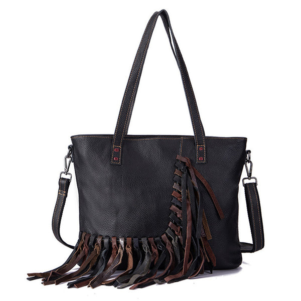Women's Hobo Leather Fringe Handbags Purse Tote Bag With Zipper for Women Affordable