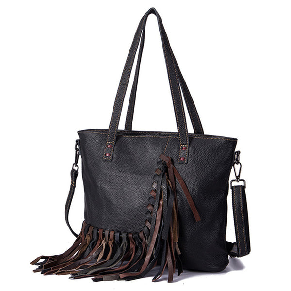 Women's Hobo Leather Fringe Handbags Purse Tote Bag With Zipper for Women Beautiful