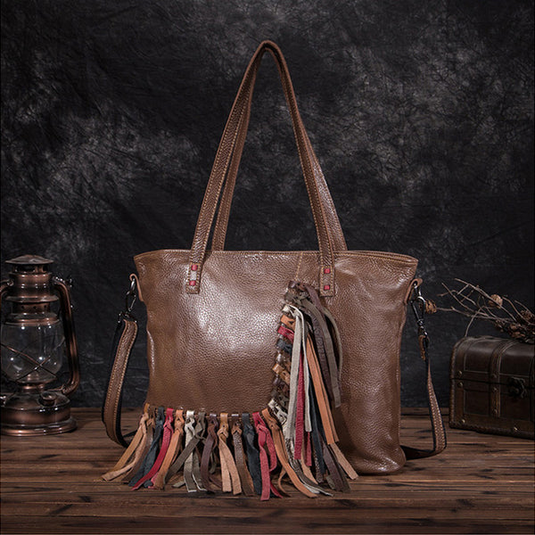 Women's Hobo Leather Fringe Handbags Purse Tote Bag With Zipper for Women Cool