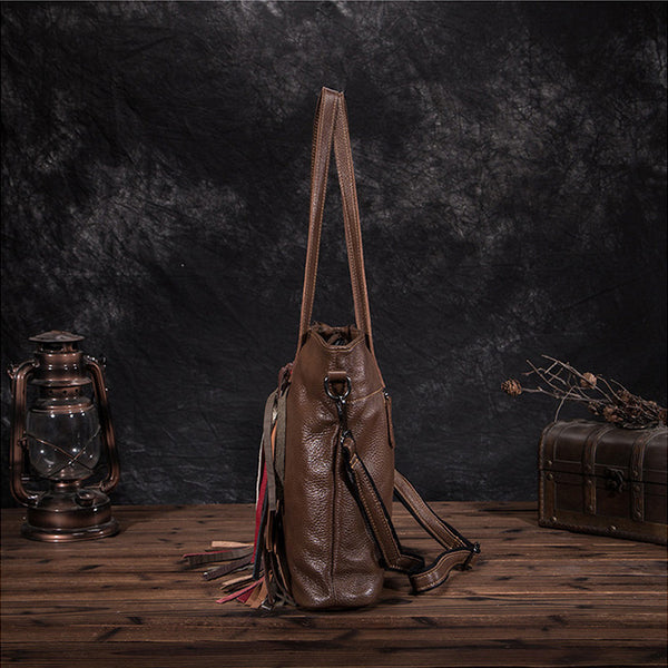 Women's Hobo Leather Fringe Handbags Purse Tote Bag With Zipper for Women Cowhide