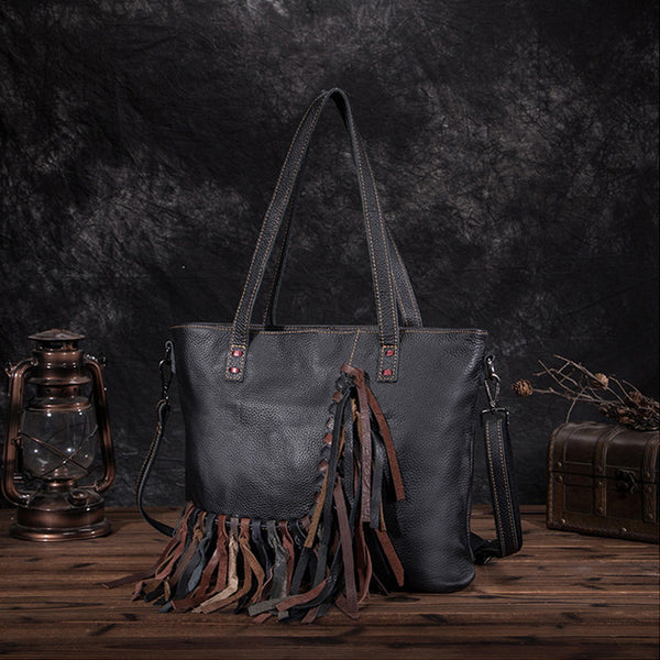 Women's Hobo Leather Fringe Handbags Purse Tote Bag With Zipper for Women Fashion