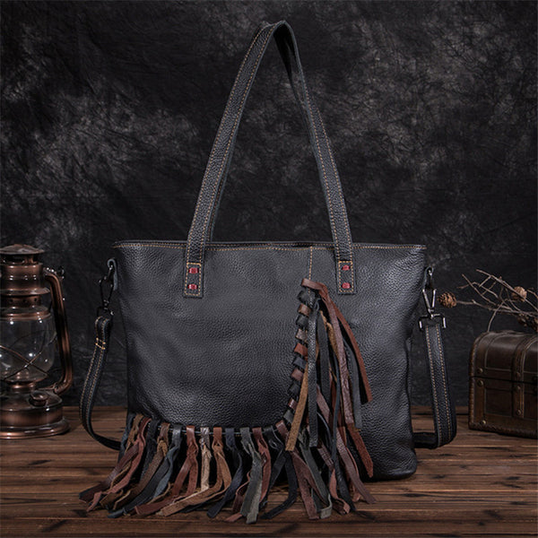 Women's Hobo Leather Fringe Handbags Purse Tote Bag With Zipper for Women