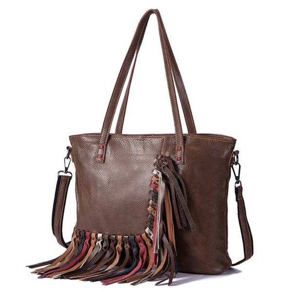 Women's Hobo Leather Fringe Handbags Purse Tote Bag With Zipper