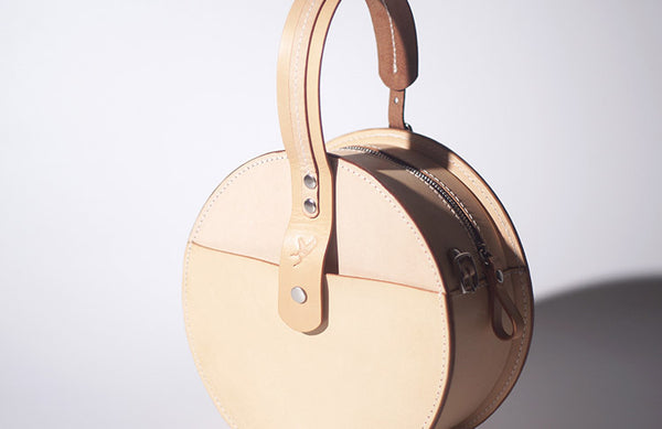 Women's Leather Circle Crossbody Bag Round Purse for Women Designer