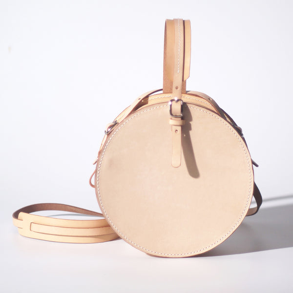 Women's Leather Circle Crossbody Bag Round Purse for Women beautiful