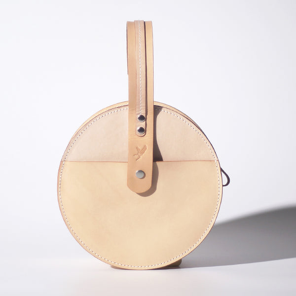 Women's Leather Circle Crossbody Bag Round Purse for Women