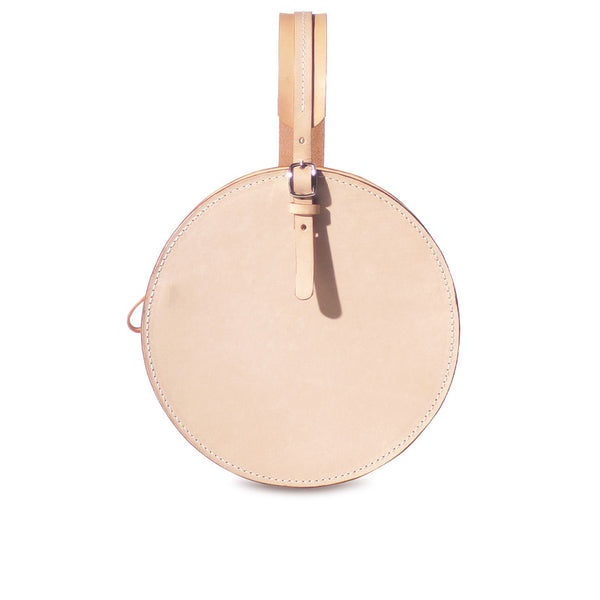Women's Leather Circle Crossbody Bag Round Purse