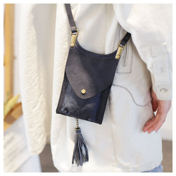 Women's Leather Crossbody Phone Bag Mini Satchel Purse Side Bag for Womens Chic