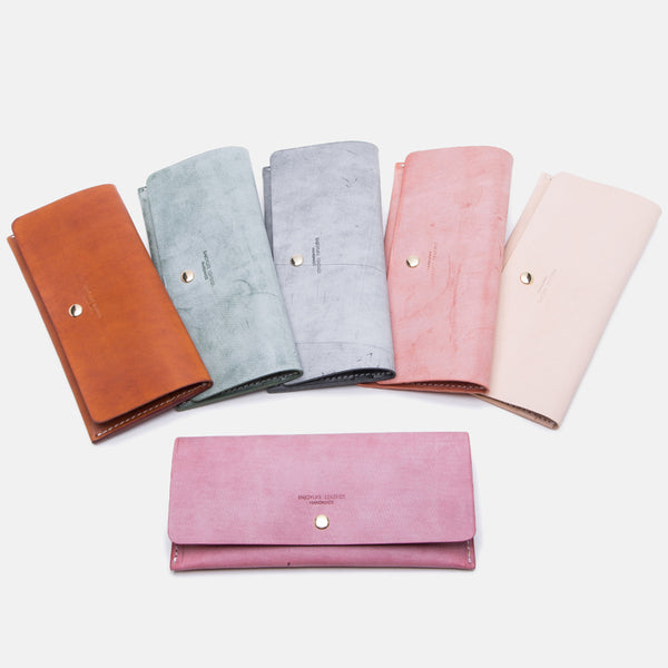Women's Pink Leather Billfolds Long Wallet Purse Ladies Leather Wallets Genuine Leather