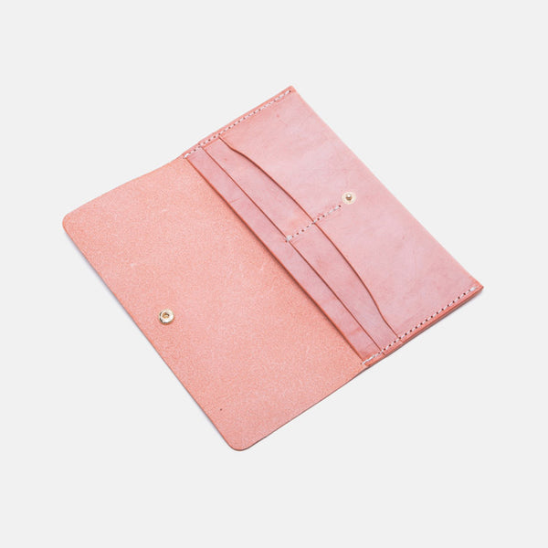 Women's Pink Leather Billfolds Long Wallet Purse Ladies Leather Wallets Accessories