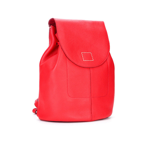 Women's Red Leather Backpack Bag Purse Small Stylish Backpack Handbag for Women Chic
