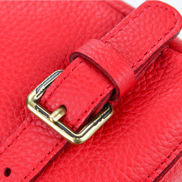 Women's Red Leather Backpack Bag Purse Small Stylish Backpack Handbag for Women Details