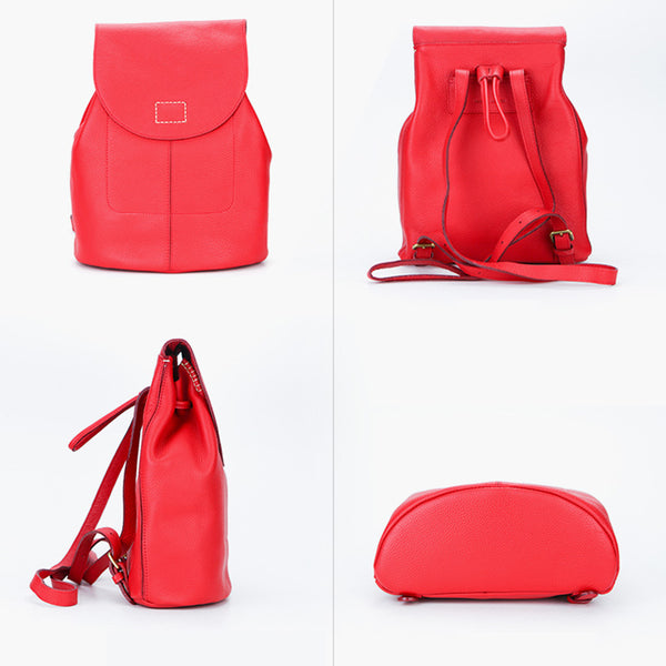Women's Red Leather Backpack Bag Purse Small Stylish Backpack Handbag for Women