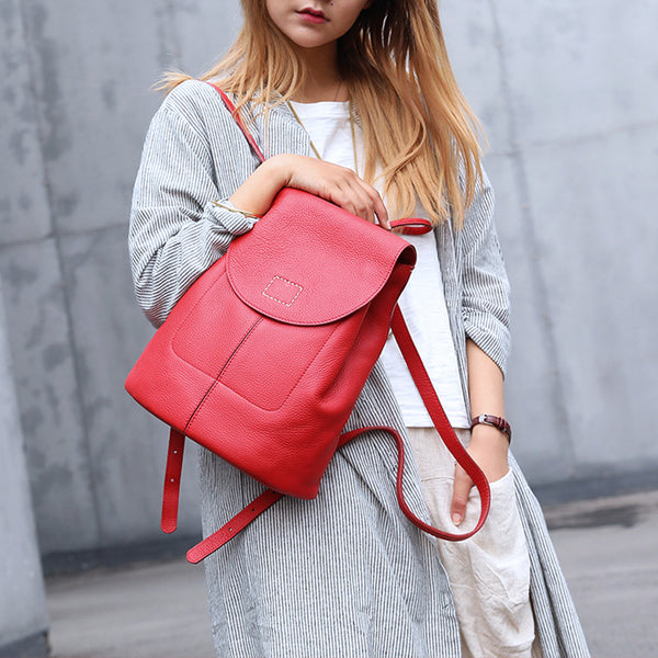 Women's Red Leather Backpack Bag Purse Small Stylish Backpack Handbag