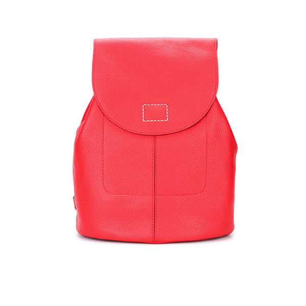 Women's Red Leather Backpack Bag Purse
