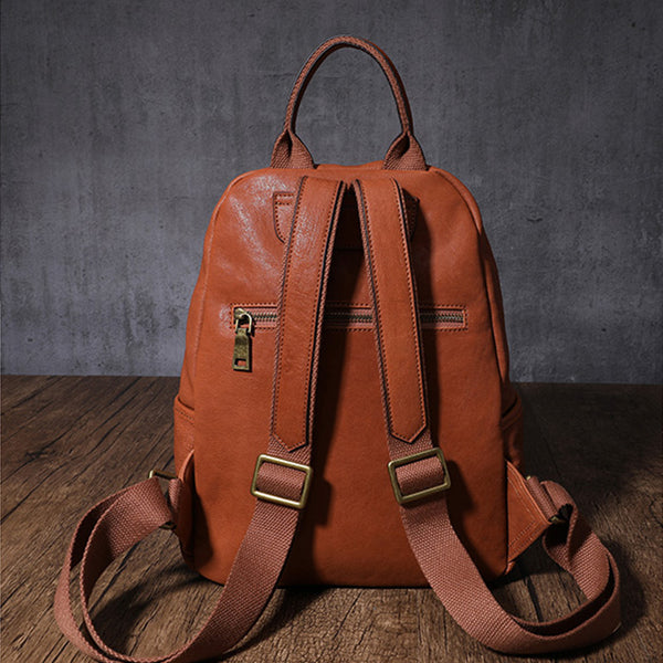 Women's Small Genuine Leather Backpack Bag Purse Trendy Backpacks For women Handmade