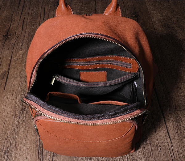 Women's Small Genuine Leather Backpack Bag Purse Trendy Backpacks For women Inside