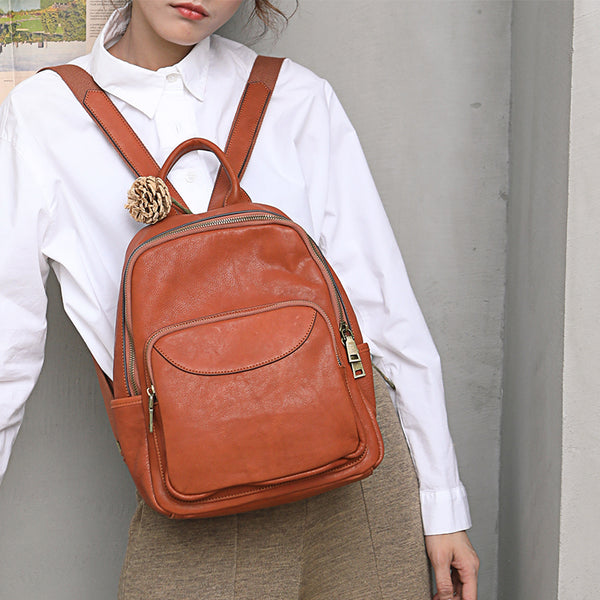 Women's Small Genuine Leather Backpack Bag Purse Trendy Backpacks For women cowhide