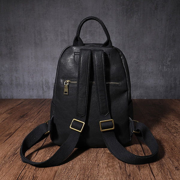 Women's Small Genuine Leather Backpack Bag Purse Trendy Backpacks For women trendy