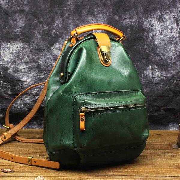 Women's Small Green Leather Backpack Purse Doctor Bag Handbags for Women