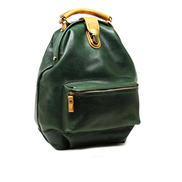 Women's Small Green Leather Backpack Purse