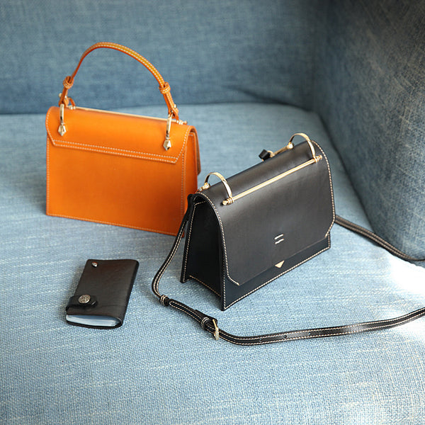 Women's Small Leather Satchel Handbags Over The Shoulder Bag Purse for Women Fashion