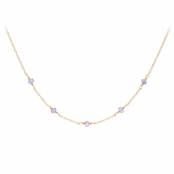 Womens 14k Gold Purple Tanzanite Bead Necklace for Women adorable