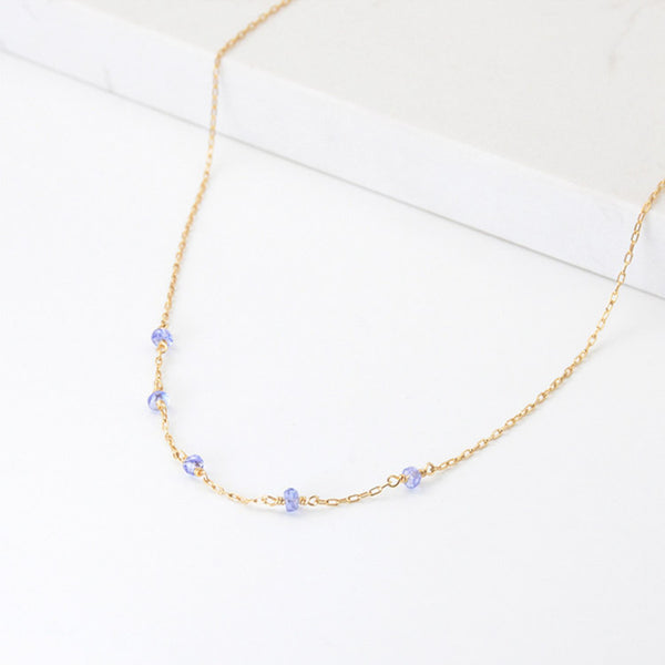 Womens 14k Gold Purple Tanzanite Bead Necklace for Women cute