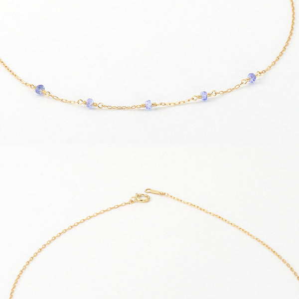 Womens 14k Gold Purple Tanzanite Bead Necklace for Women elegant