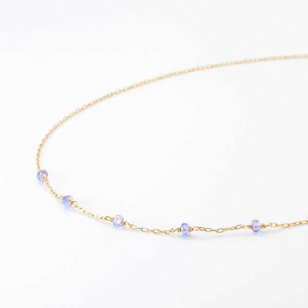 Womens 14k Gold Purple Tanzanite Bead Necklace Gemstone Necklace for Women