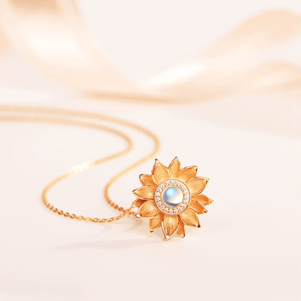 Womens 18K Gold Plated Silver Flower Moonstone Pendants Necklace for Women adorable