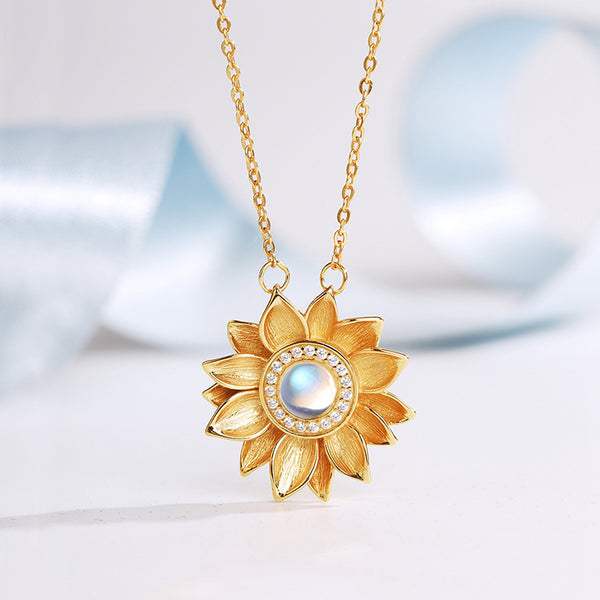 Womens 18K Gold Plated Silver Flower Moonstone Pendants Necklace for Women chic