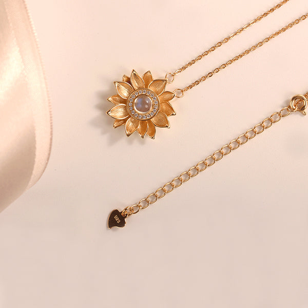 Womens 18K Gold Plated Silver Flower Moonstone Pendants Necklace for Women charm
