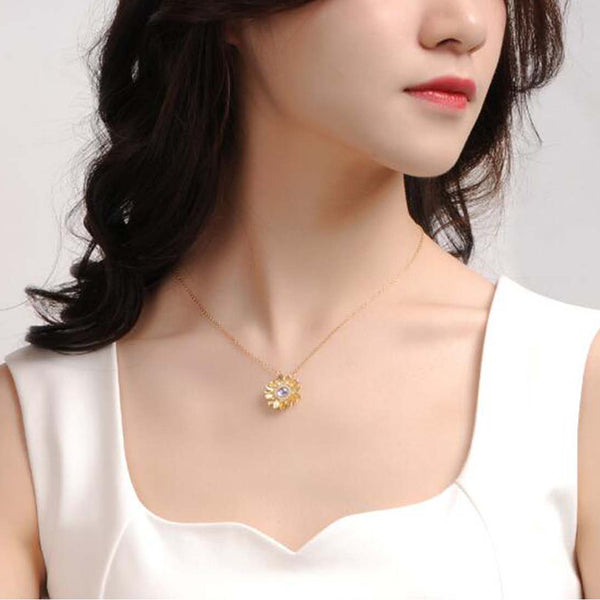 Womens 18K Gold Plated Silver Flower Moonstone Pendants Necklace for Women cool